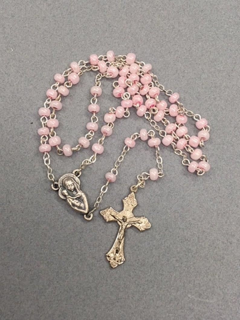 419f5c10f Tiny Pink Pearl Rosary Italian Rosary Pink Faux Pearls Rosary   Etsy
