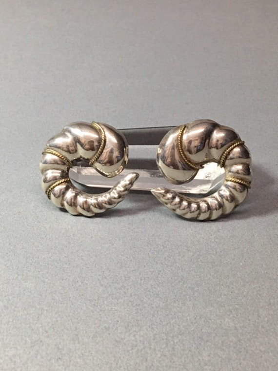 Sterling Scallop Earrings Taxco Mexico Vintage