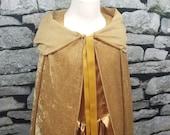 Gold Panne Velvet Hooded Cape - (Princess Queen Belle) - Baby Toddler Kids Teen Adult Sizes