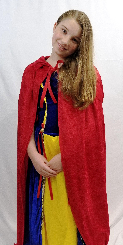 Red or White Panne Velvet Child Cape Princess Christmas Renaissance Medieval