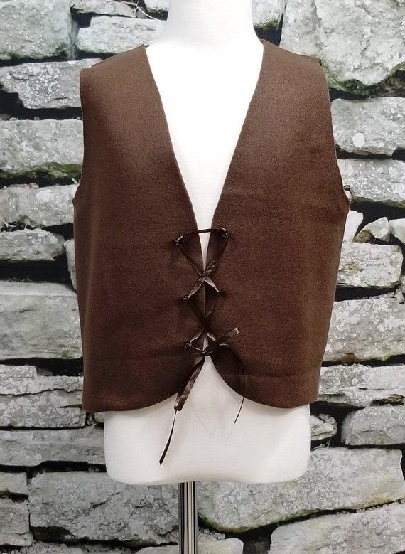Kids Brown Peasant Costume Vest Medieval//Renaissance//Colonial//Pirate Fits Kids 4-12