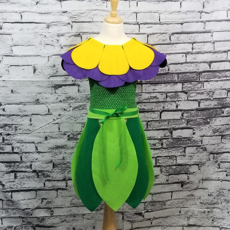 YellowPurple Baby  Toddler  Kids  Adult Sizes Available Violet Flower Costume Set