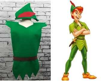 PETER PAN Costume Tunic and Hat (Neverland) - Baby / Toddler / Kids / Teen / Adult Sizes