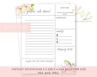 To Do List Printable Modern Floral + Cheeky | Daily Checklist, Daily Planner, Printable Planner Template, Work Planner, Planner Insert