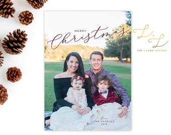 Simple Elegant Christmas Card - Personalized with Pictures - Holiday Card