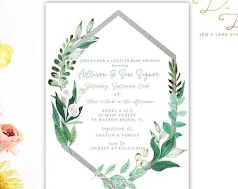 Boho Vines Baby Shower invitation - Printable or Printed Baby Shower Invite - 5x7