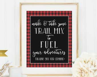 Make trail mix sign - Printable or Printed - 8x10 - Other sizes available - Greatest Adventure - Fuel your adventures