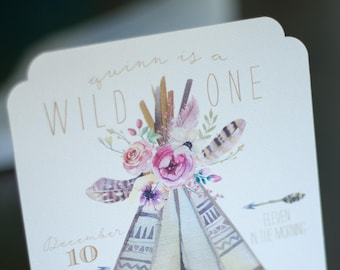 Wild One Birthday Invitation - Tribal Invitation - Printable or Printed Birthday Invitation