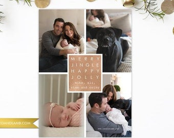 PRINTED Rose Gold Merry Jingle Happy Jolly - Christmas Card - Personalized with your pictures - Printable or Printed - Six Pictures