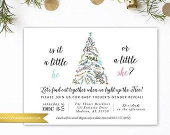 Christmas Gender Reveal - Christmas Lights Baby Shower - PRINTED