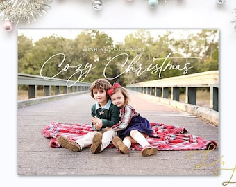 Cozy Christmas Card - Personalized with your pictures - Printable or Printed