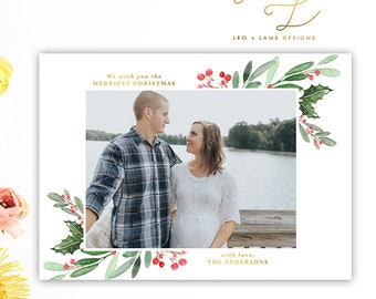 Holly Watercolor Christmas Card - Personalized with your pictures - Printable or Printed