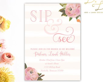 Sip and See for Baby Girl - Sip and See Floral Invitation - Printable or Printed - 5x7