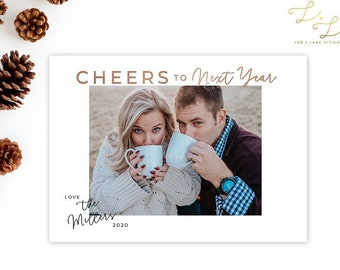 Cheers to Next Year Christmas Card - Funny 2020 Christmas card - Holiday Card