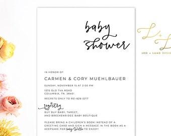 The Willa Baby Shower invitation - Modern Baby Shower Invitation - Printable or Printed Baby Shower Invitation