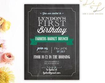 Farmer's Market Birthday Invitation - Chalkboard Invitation - Printable or Printed - Any Birthday Invitation