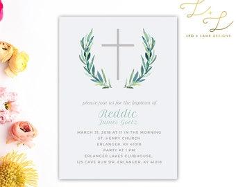 Simple Baptism Invitation - Printable or Printed - 5x7 Baptism