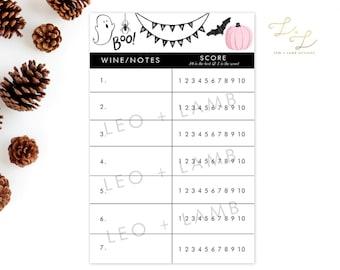 DIGITAL DOWNLOAD Halloween Wine Tasting Party Printable - Host Your Own Wine Tasting - Printable or Printed - Win Wine