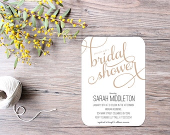 Bridal Shower Invitations - Printable File OR Printed - Neutral and Modern Invitation
