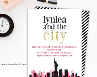 Sex and the City Inspired Bachelorette Invitation - Printable File - 5x7