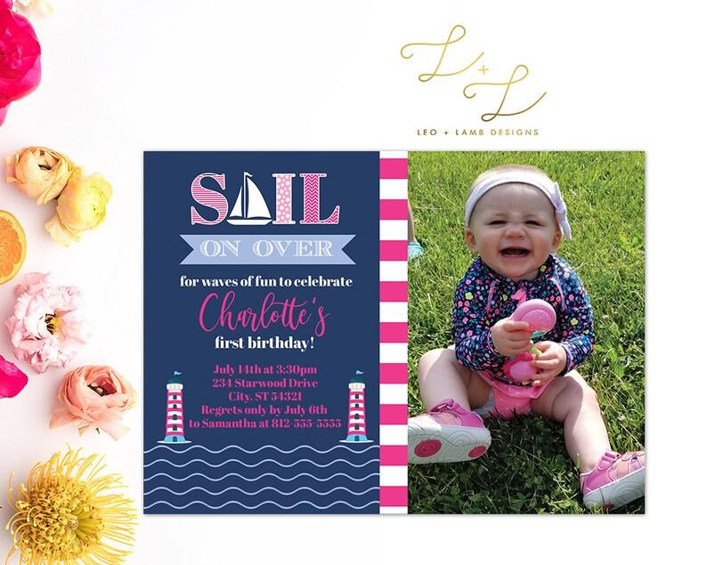Nautical Invitation  Sail on over  Printable or Printed image 0