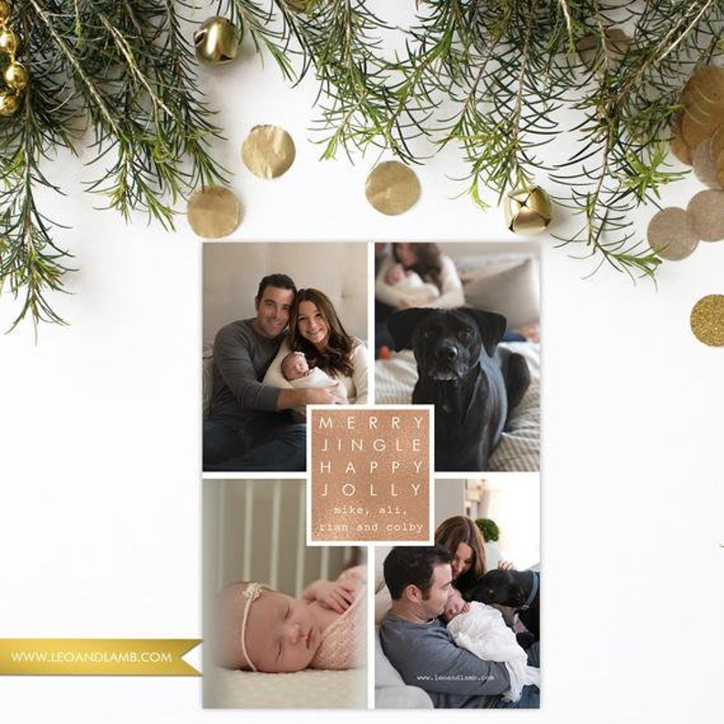 PRINTED Rose Gold Merry Jingle Happy Jolly  Christmas Card  image 0