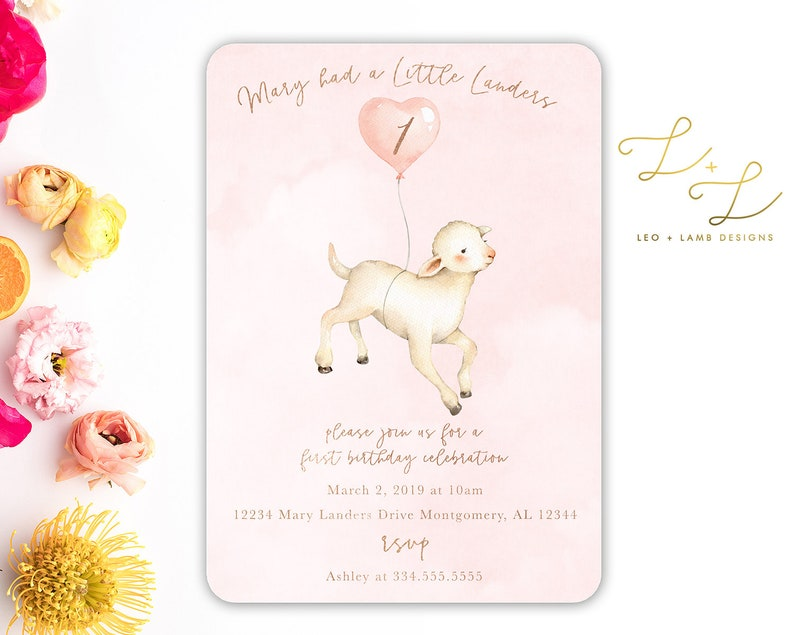 Little Lamb Birthday Invitation  Printable OR Printed image 0