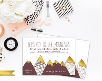 Mountain Bachelorette Invitation - Printable or Printed - Let's Get Away - Let's go to the mountains