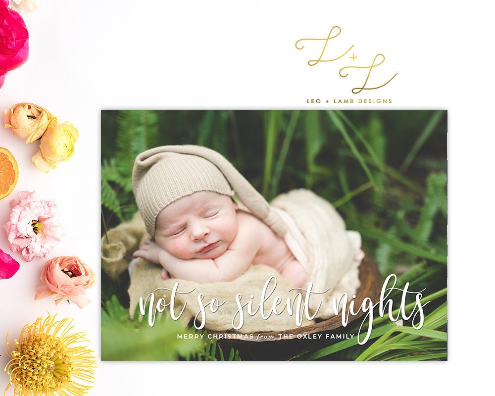 Not so silent nights Christmas Card Baby Announcement | Etsy