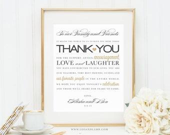 8x10 Wedding Thank You Sign - Printable File - Wedding Thank You Card