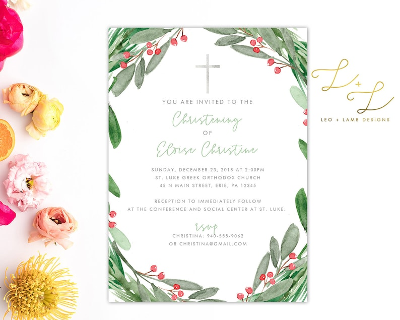 Christmas Baptism Invitation  Printable or Printed  5x7 image 0