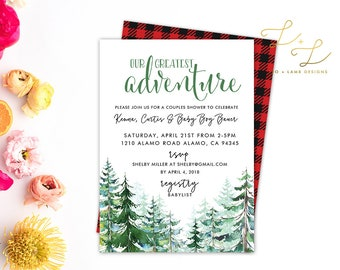 Our Greatest Adventure Baby Shower invitation - Printable or Printed - 5x7 - Forest Wild Baby Shower or Birthday