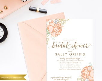 The Peachy Keen Invitation - Shower Invitations - Printable File OR Printed - Bridal Shower, Baby Shower, Couples Shower, Rehearsal Dinner