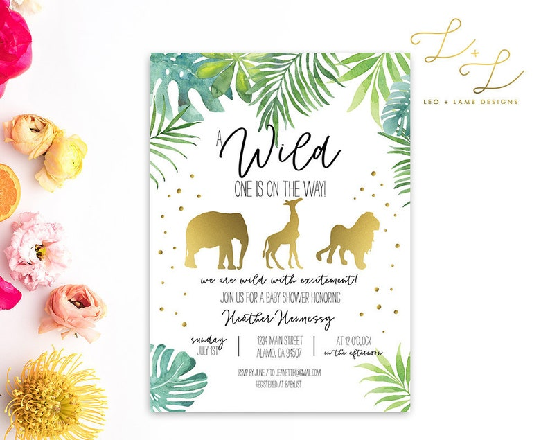 Wild One is on the Way Baby Shower invitation  Printable or image 0