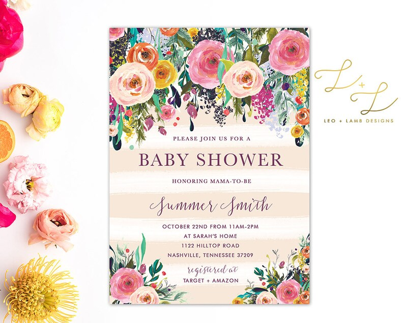 Bright and Brilliant Floral Baby Shower Invitation  Printable image 0