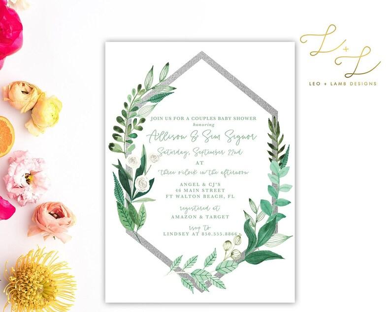 Boho Vines Baby Shower invitation  Printable or Printed Baby image 0
