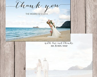 Printed Script Thank You Postcard - 4x6 with Personal Pictures