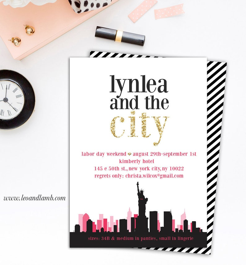 Sex and the City Inspired Bachelorette Invitation  PRINTING  image 0