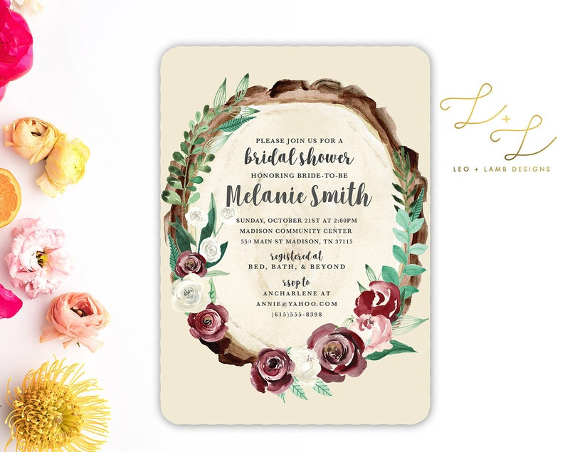 Wood Slab Rustic Floral Bridal Shower Invitation  Printable image 0