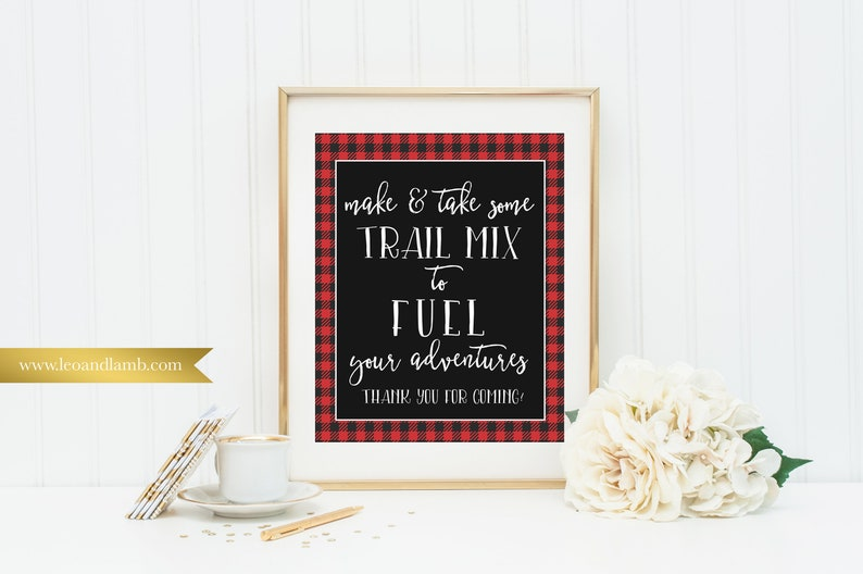Make trail mix sign  Printable or Printed  8x10  Other image 0