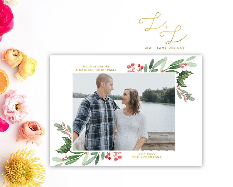Holly Watercolor Christmas Card  Personalized with your image 0