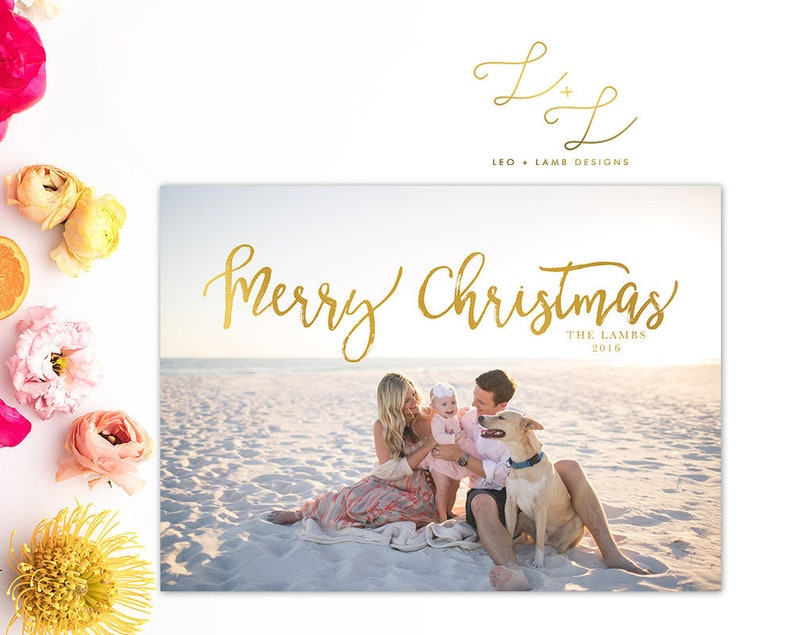 Merry Christmas and Announcement Card  Personalized with image 0