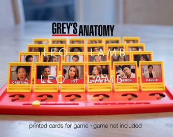 PRINTED CARDS - Guess Who Game - Grey's Anatomy Version - Game not included - PLS Read Instructions First!