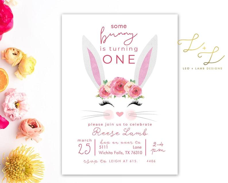 Some Bunny is One Birthday Invitation  Bunny First Birthday  image 0