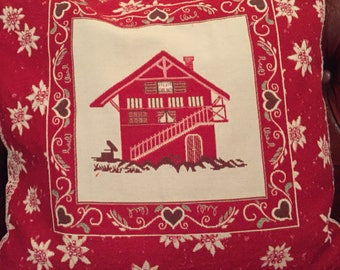 Christmas cushion with house, heart and flower design with duck feather cushion