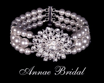 "Bridal jewelry, white pearl and rhinestone bracelet, wedding, silver, ""Dazzling Desire"" bracelet"
