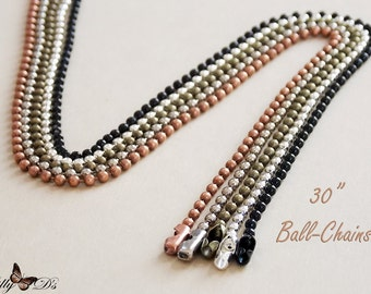 """100 Stainless Steel Ball Chains 30/"""" Dog tag Bead Chain"""
