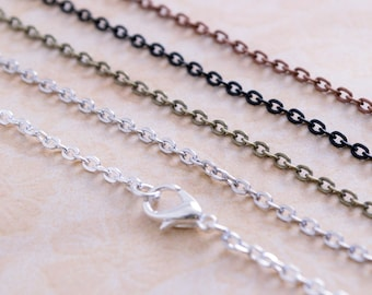 10 Necklace Chains - 18inch Rolo Link Chains - Oval Link Chain  - Wholesale Chains - Jewelry Making Chain - Flat Chains - Charm Necklace