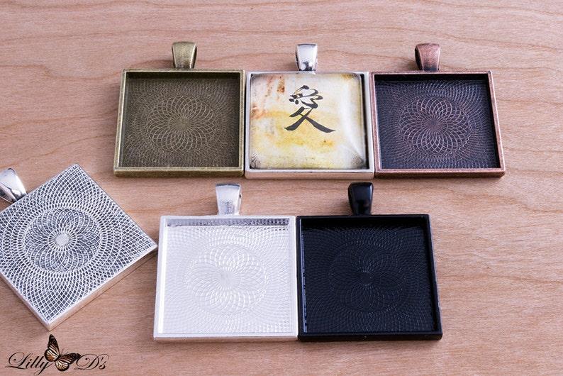 10 Blank Bezel Settings Pendant Trays 1 inch 25mm Square image 0
