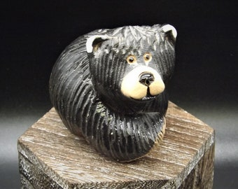 2.75 tall animal sculpture Artesania Rinconada bear with a cub figurine collectible vintage bear hand carved in Uruguay AR clay carving